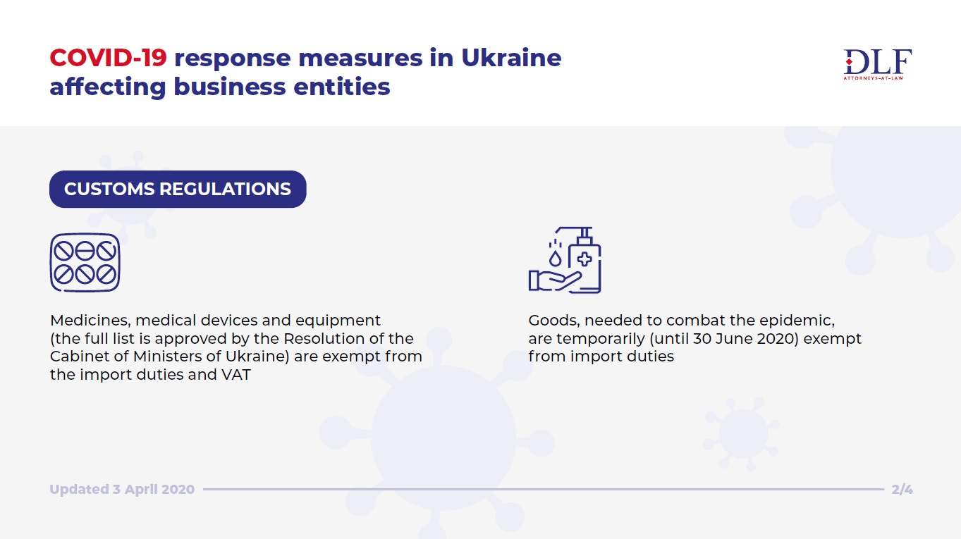 COVID-19 response in Ukraine - DLF lawyers Ukraine - customs regulations - updated infographic