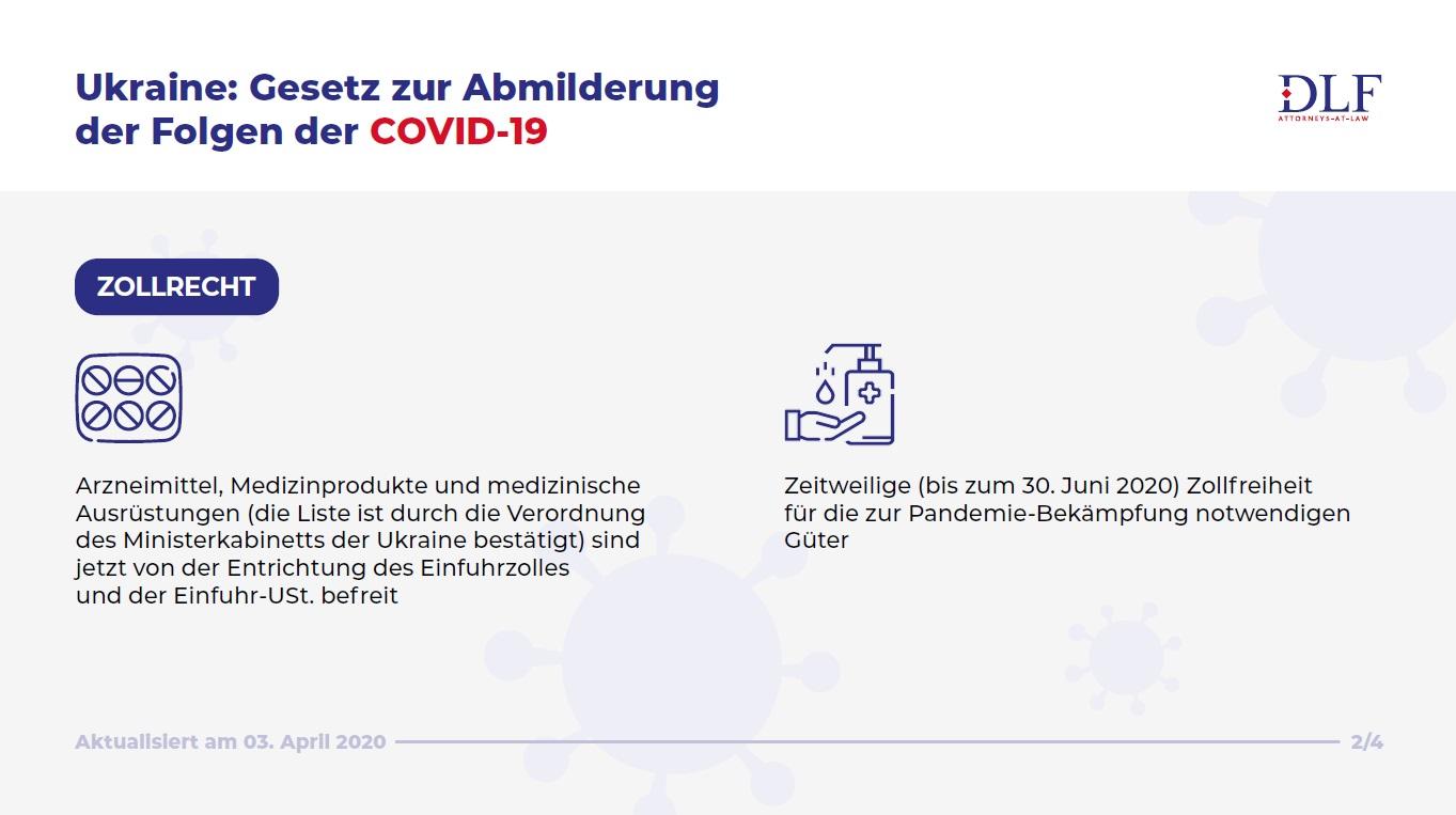 DLF Rechtsanwaelte Ukraine - Zollrecht - Abmilderung der Folgen der COVID-19 - aktualisiert Infographik