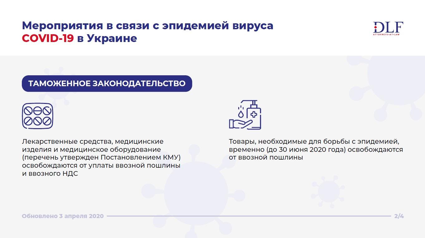Мероприятия в связи с эпидемией вируса COVID-19 в Украине - DLF attorneys-at-law - таможенное законодательство - обновленная инфографика